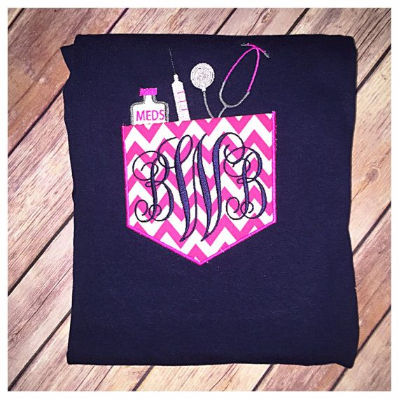 Hey, I found this really awesome Etsy listing at https://www.etsy.com/listing/233234408/appliqued-3-initial-nurse-monogram