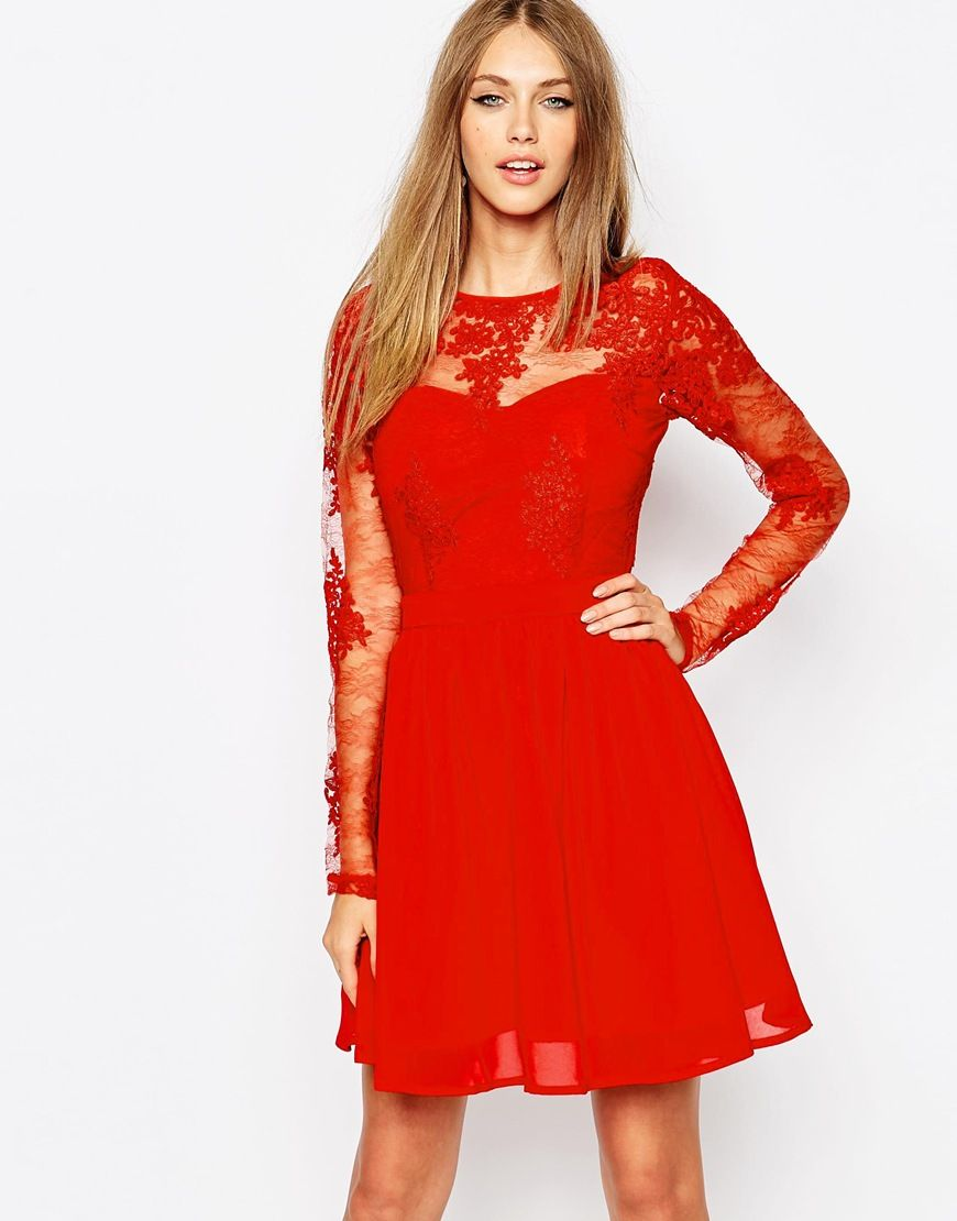 Missguidedpremiumlacelongsleeveskaterdress dresses