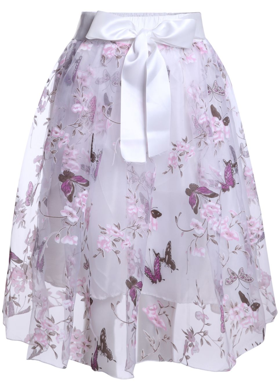 Pink With Bow Butterfly Print Flare Dress - Sheinside.com