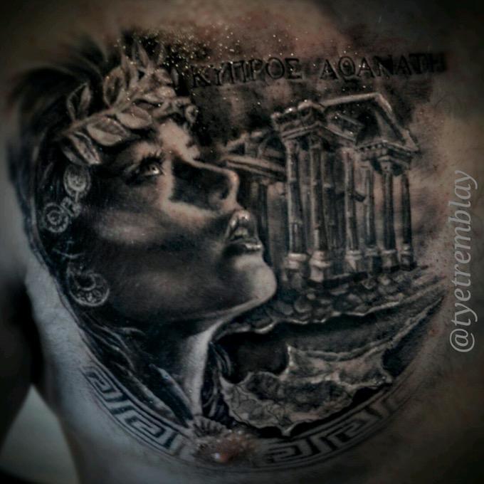 Aphrodite Chest Piece Aphrodite Tattoo Athena Tattoo Goddess Tattoo