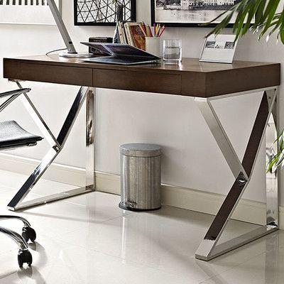 Wayfair Adjacent Writing Desk   Contemporary Modern Desk   Polished  Stainless Steel FrameHigh Gloss Walnut Veneer
