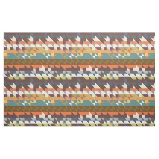 Shapes in retro colors abstract design fabric