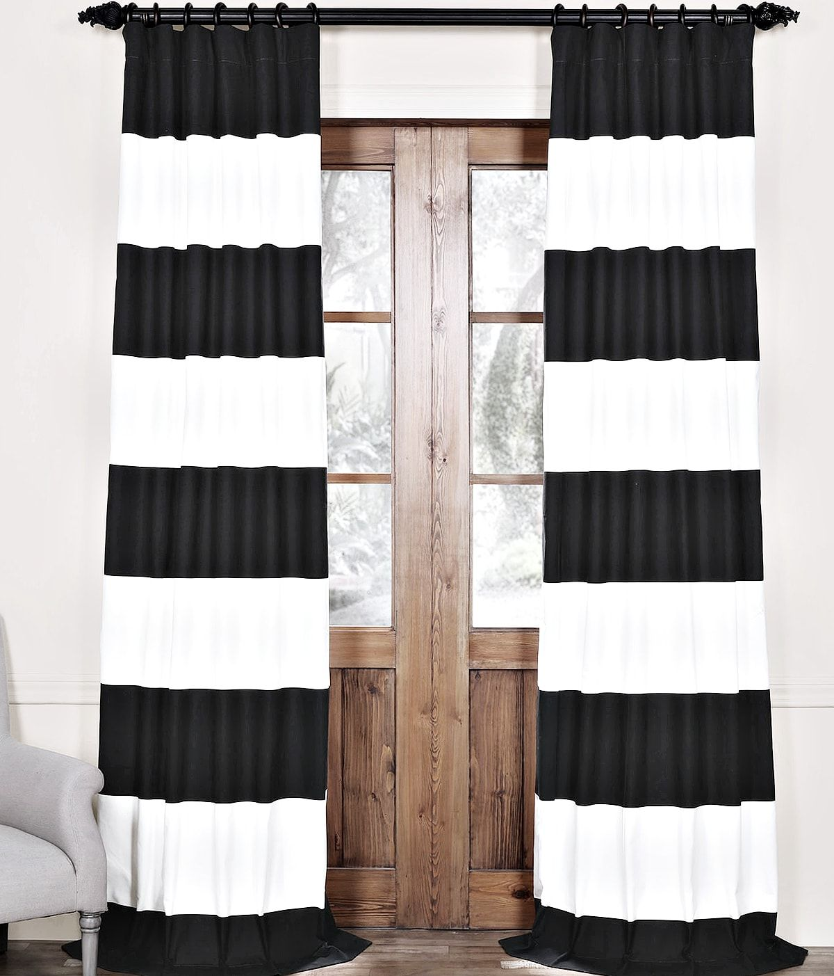 My Favorite Black And White Curtains Cuckoo4design Black White Curtains Horizontal Striped Curtains Curtains Living Room