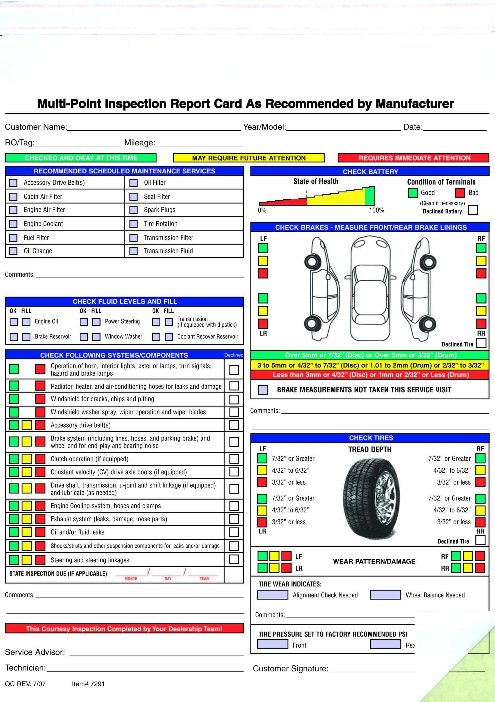 Free Printable Vehicle Inspection Form Free Download Vehicle Inspection Inspect Checklist Template