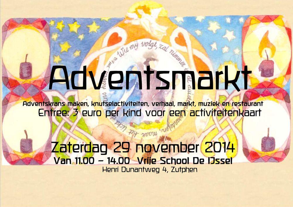Komt allen 29 november naar de Adventsmarkt op de IJsselschool in Zutphen! Dit jaar weer veel nieuw inspiratie en activiteiten.