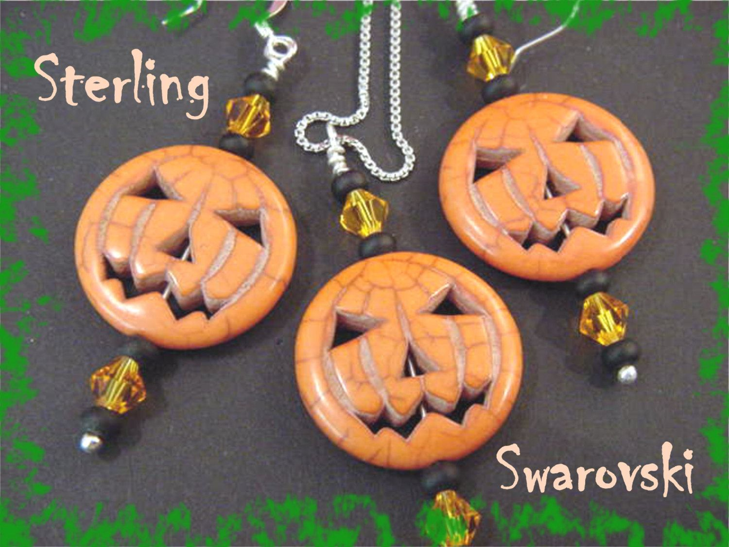 Happy Halloween - Jack O Lantern Pumpkin Sterling Silver Necklace & Earrings - Swarovski Crystals - 20