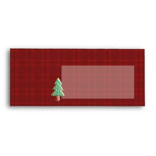 sugar cookie christmas red plaid 10 envelope christmas cards