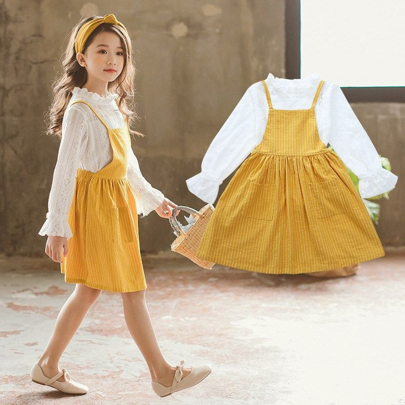 Girls Clothes Set 2018 Fall Blouse + Yellow Overall Dress Teenager Girls Fashion Toddler Girl Clothing Back To School Outfits 10 #teenagegirlclothes