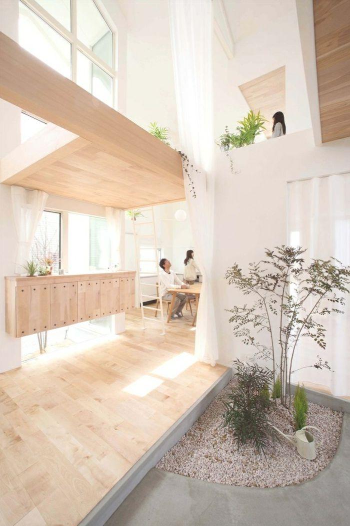 Décoration japonais meubles en bois clair plante verte dintérieur