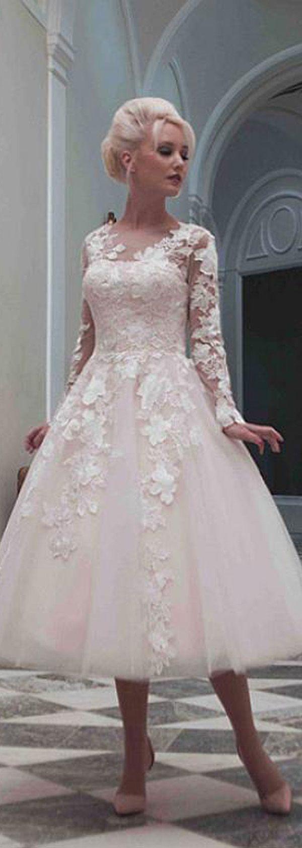Elegant tulle jewel neckline long sleeves tealength aline wedding