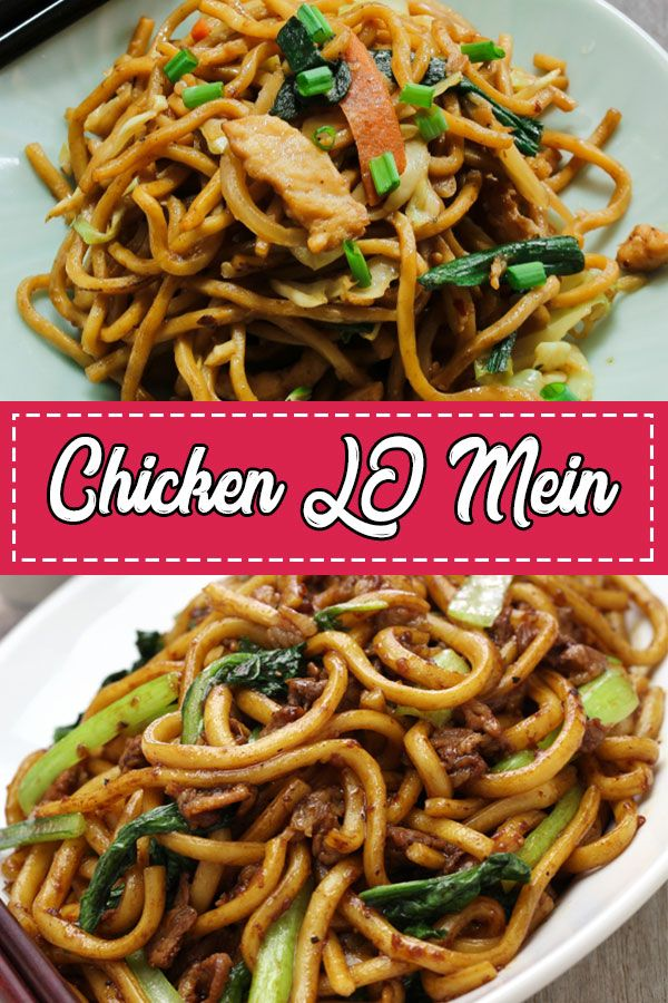 Chicken Lo Mein This easy Chicken Lo Mein with Egg Noodles with other vegetables can be made in just 25 Minutes. This Lo Mein Chicken is way better than your Favorite Chinese Takeouts.