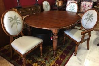 Tommy Bahama French Indies Style Dining Set With A Banana Palm Tree Woven Into The Back Cushion Of Each Chair Oval Furniture Plank Table Consignment Furniture