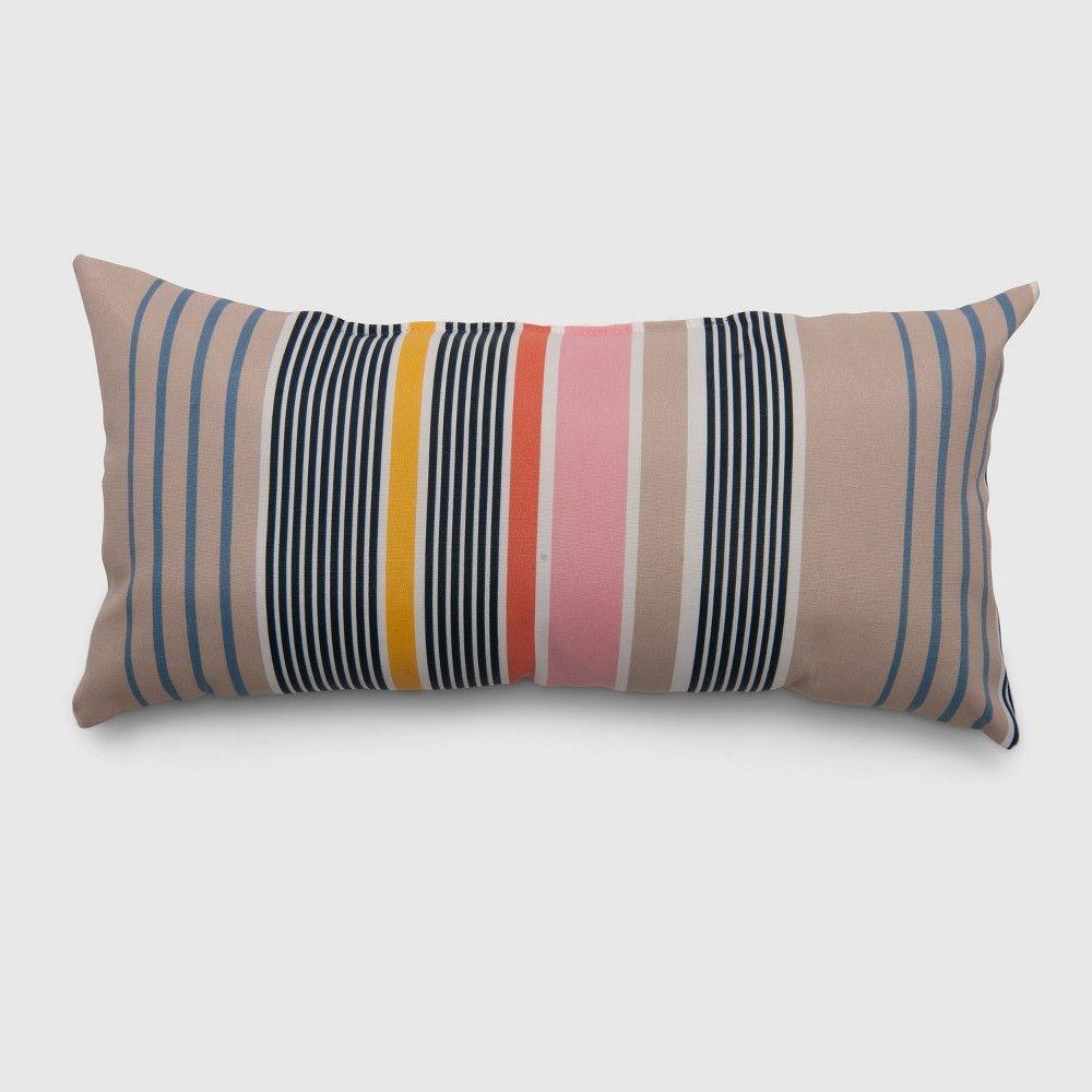 Lumbar Multi Stripe Outdoor Pillow Picnic Threshold Target
