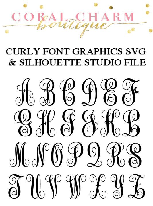 Curly Script Font Graphic Alphabet Set for Cutting Machines | SVG