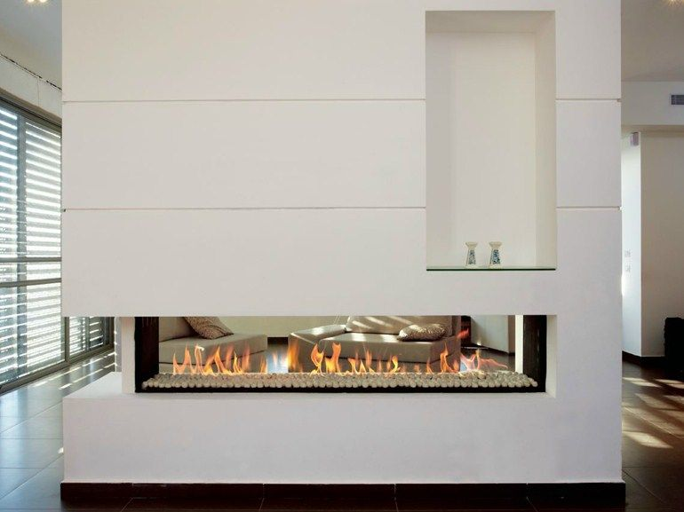 Double sided gas fireplace with panoramic glass LINEA 150 TUNNEL