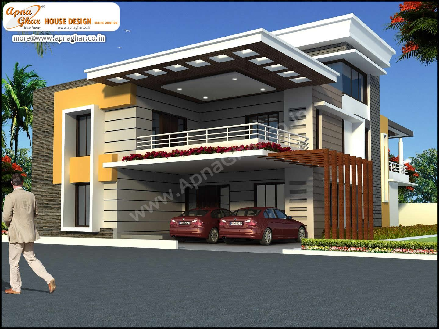 5 bedroom duplex 2 floors house design area 450m2 for Front view of duplex house in india