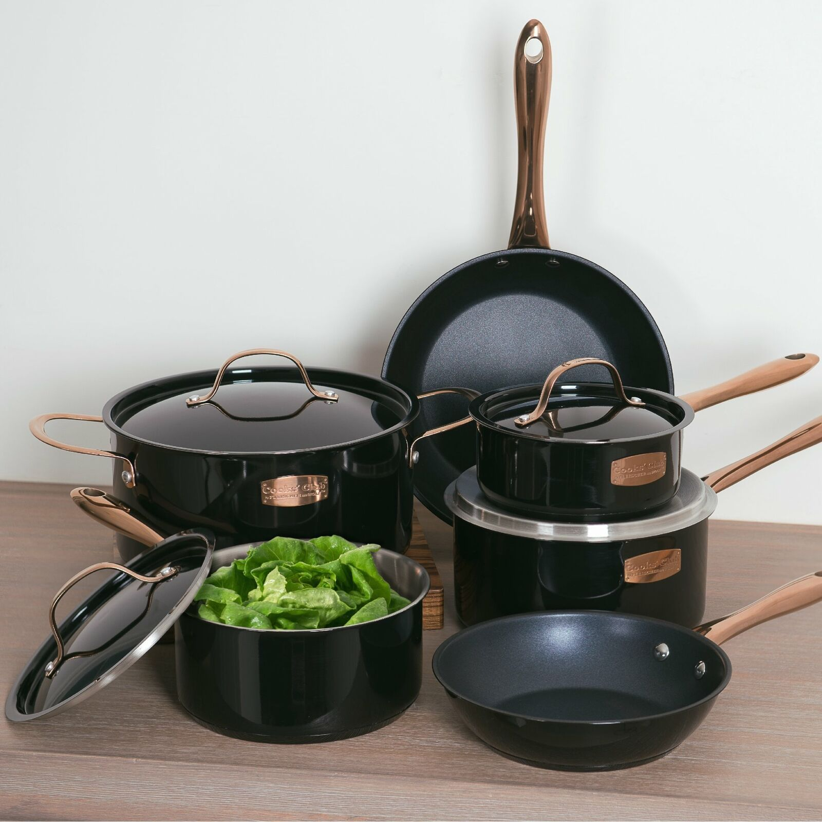 10pc Cookware Set Cooks Club Stainless Steel Copper Pots Pan