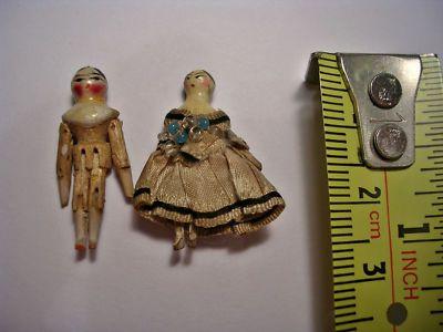 Teeny Tiny Antique Wooden Peg Dolls