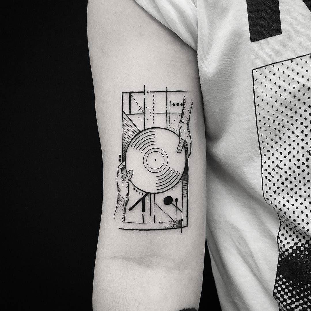 "Tattoo Snob on Instagram: ""Vinyl Vibes by @thomasetattoos at Black Talon Tattoo in Arcadia, California. #vinyl #music #thomasetattoos #blacktalontattoo #arcadia…"""