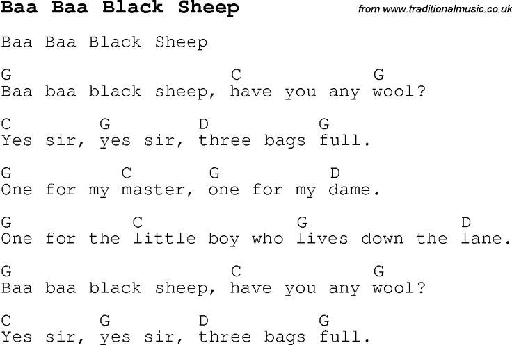 Childrens Songs And Nursery Rhymes Lyrics With Chords For Guitar Banjo Ukulele Etc Song Baa Black Sheep