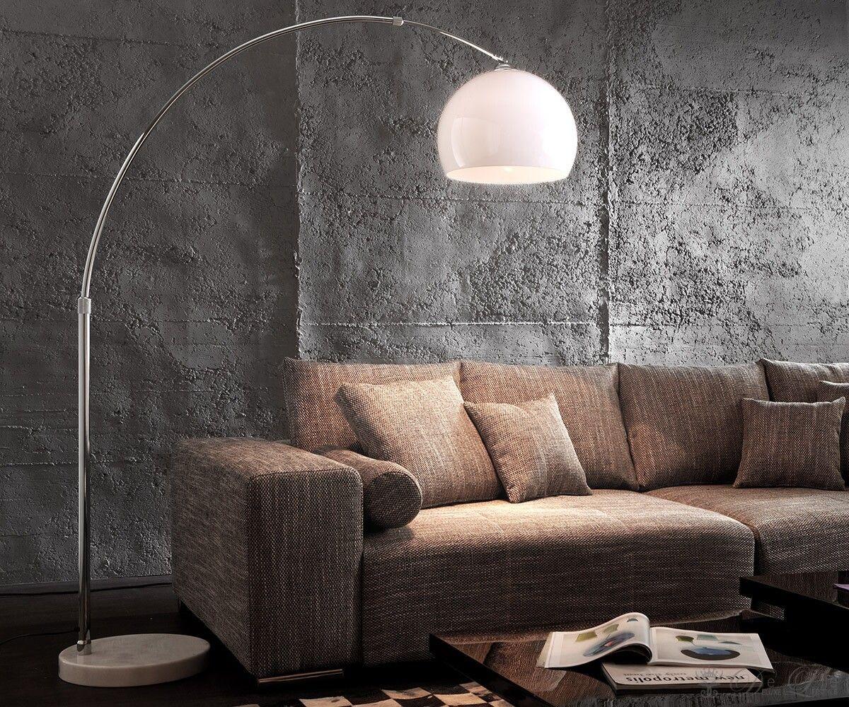 Bogenleuchte Big-Deal Eco Lounge Weiss Marmor Verstellbar
