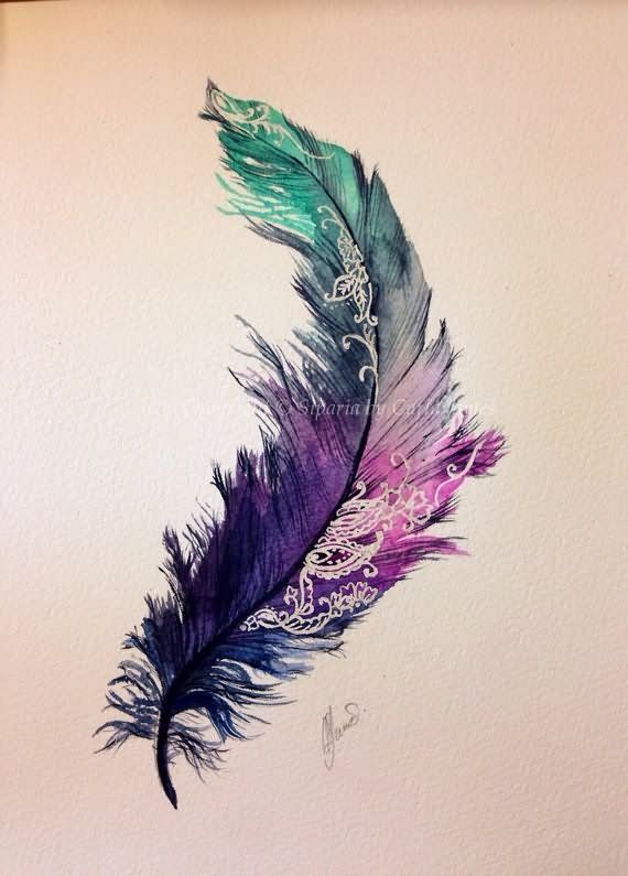 Watercolor Feather Tattoo Design Different Colours Make It A