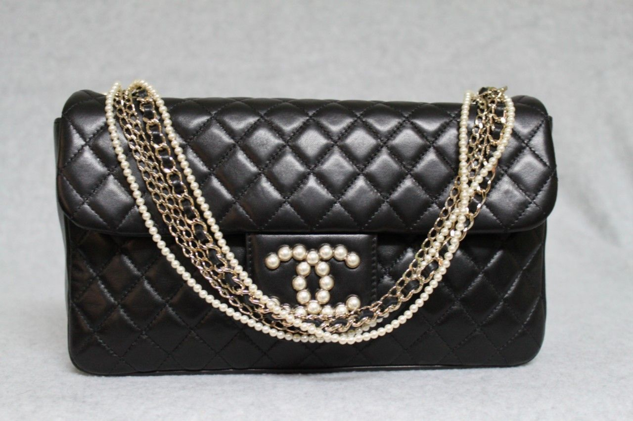 c73462f7c236 Chanel Black Quilted Lambskin Westminster Pearl Flap Bag Rare ...