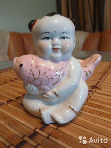 Фарфор мальчик с карпом китай япония