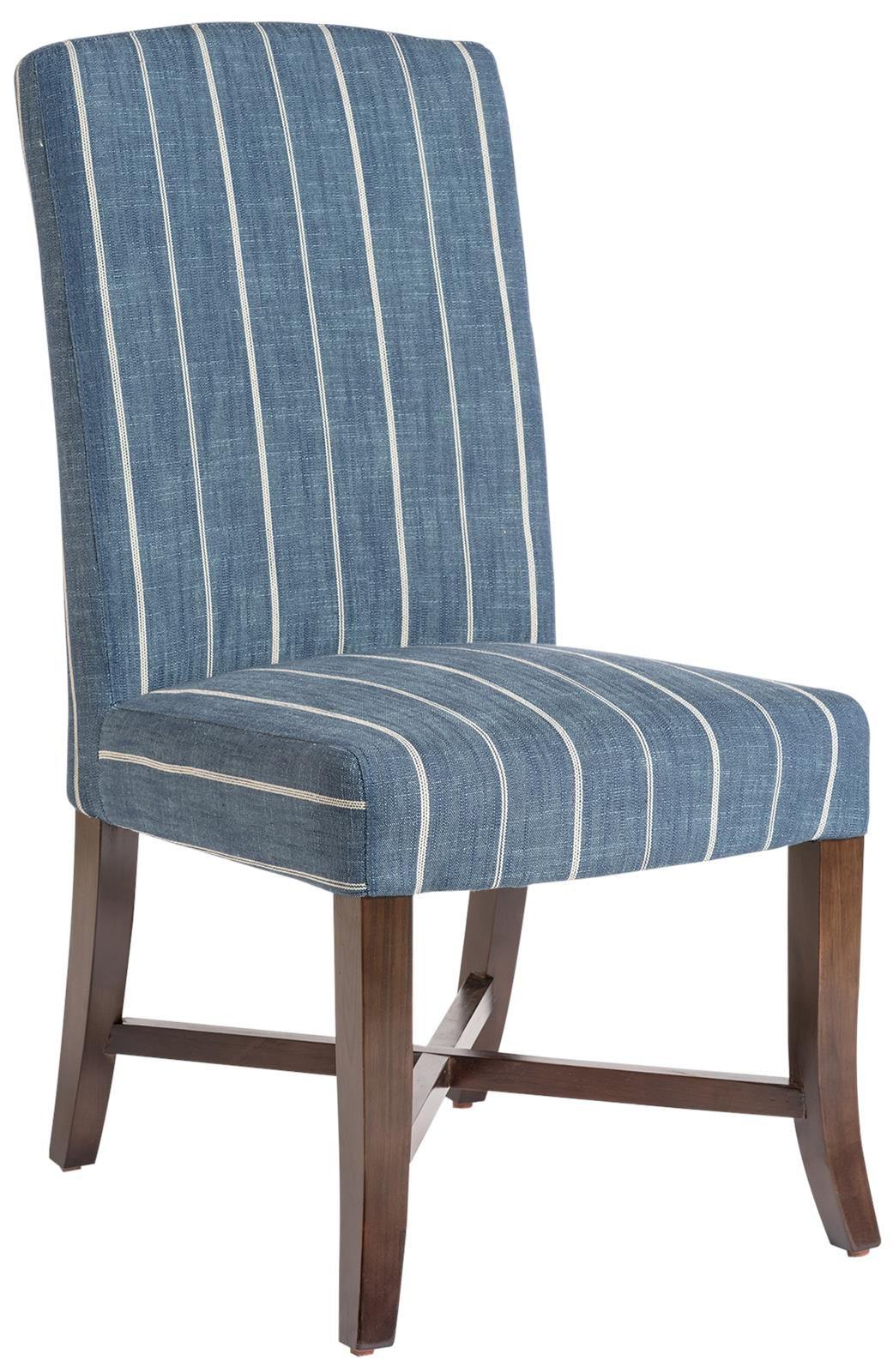 Dining Chair Mercer Revere Indigo Blue Stripe Fabric Dark Walnut Wood Pair Furniture Upholstery Birchwood Diningchair