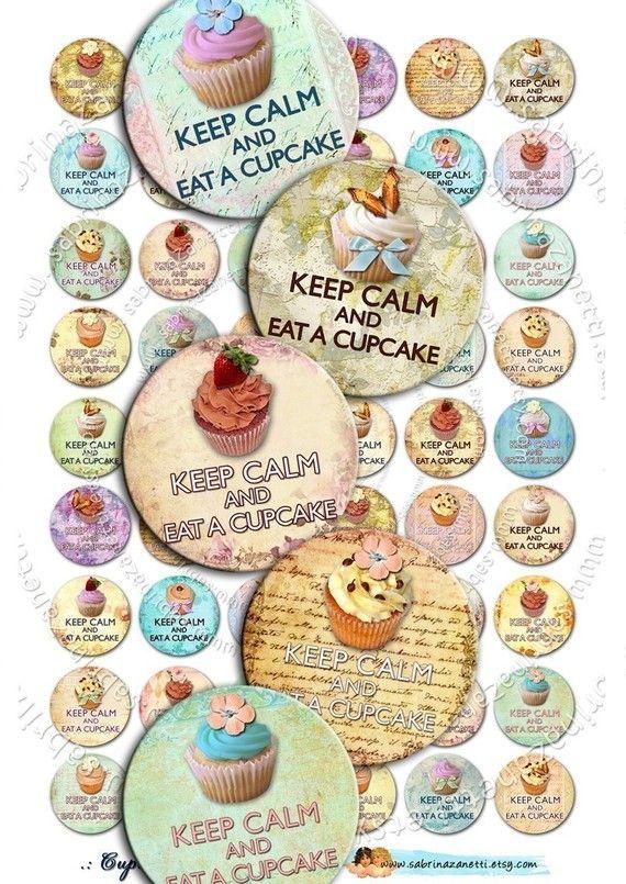 Instant Download  Digital collage sheet CUPCAKE Circles por JLeeloo, $3.60
