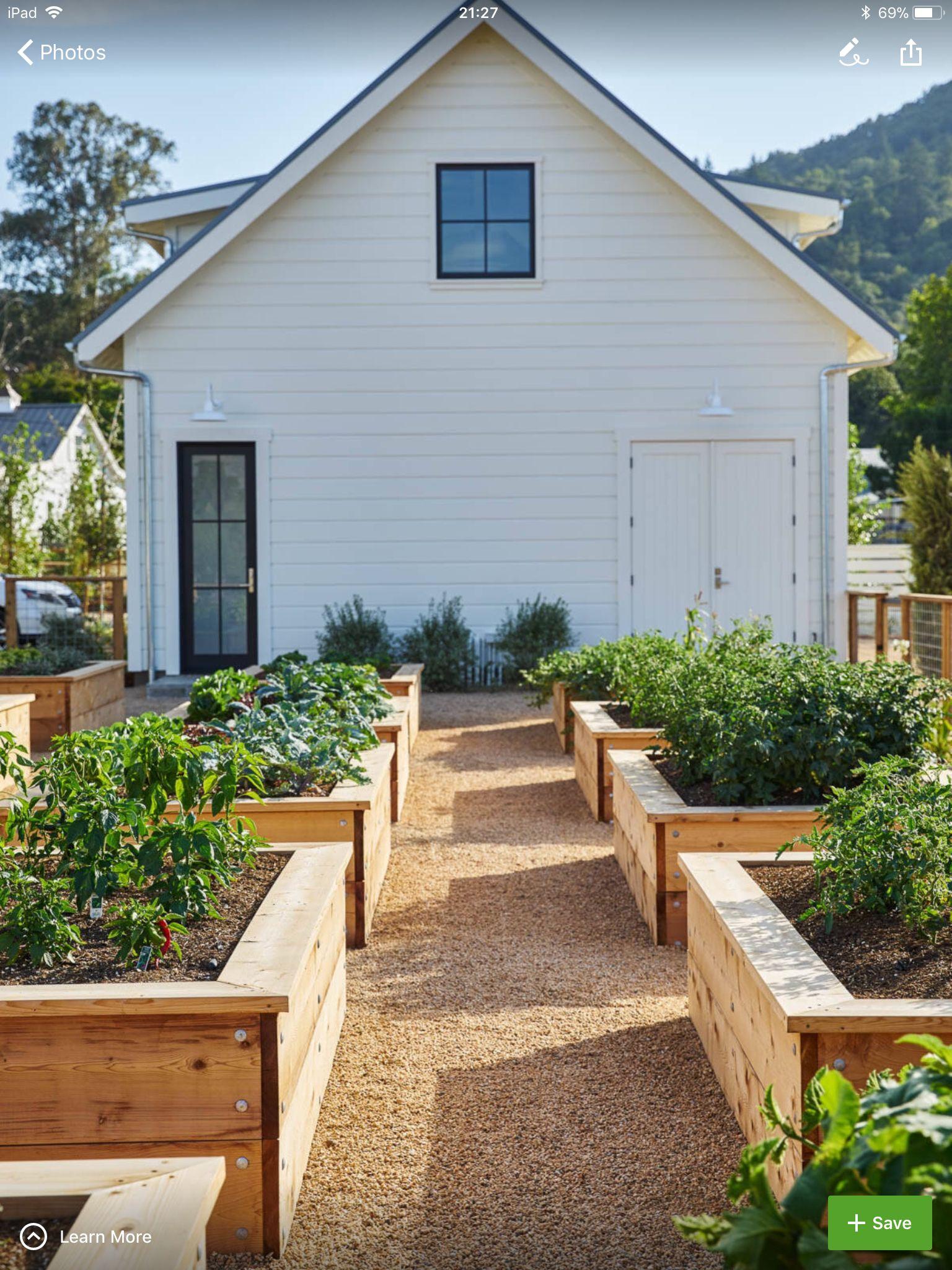 kitchen garden, raised beds, wooden beds, garden path, gravel, pea ...