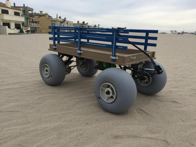 Red Poly Plastic With 16 Inch Sand Tires Electric Beach Cart
