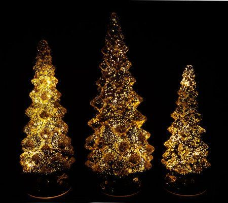 Set Of 3 Twinkling Mercury Glass Trees W Timers By Valerie Qvc Com Mercury Glass Tree Twinkle Twinkle