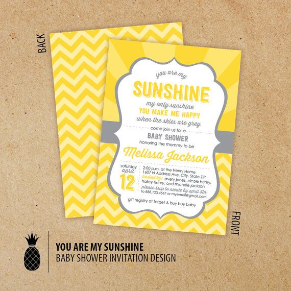 You Are My Sunshine Baby Shower Invitations By PPDesignCo On Etsy