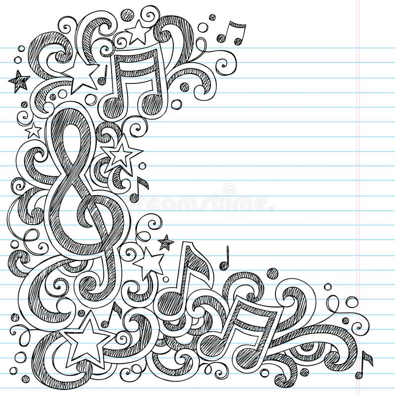 Music Notes And G Clef Sketchy Music Class Doodles Vector