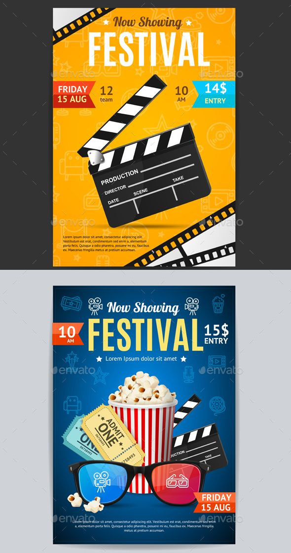 Cinema Movie Festival Poster Card Template Vector Popcorn Posters