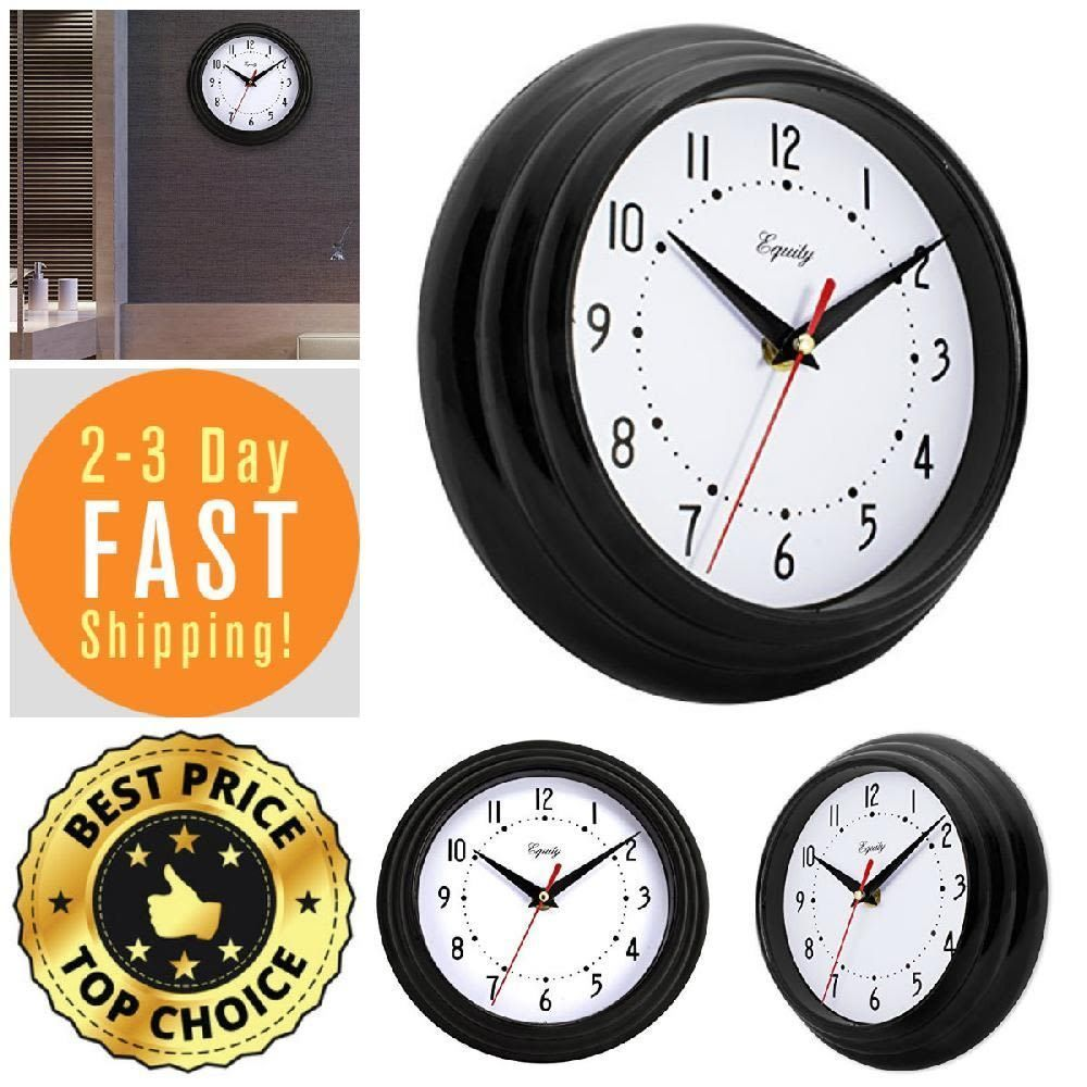 Wall Clock 8 Inch Black Large Numbers Metal Hands Glass Lens Home Office Gift Equitybylacrosse Clock Clocks For Sale Black Clocks
