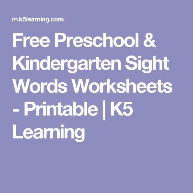 Free Preschool & Kindergarten Sight Words Worksheets - Printable ...