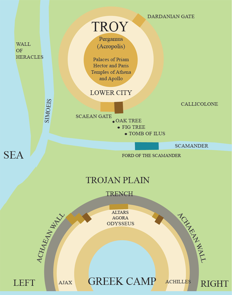 Iliad theater - trojan war     maps out what is happening & where