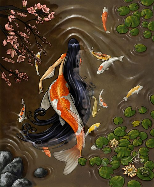 aynando:    Koi Mermaid by ~Bamfette  A mermaid with a Koi tail swims through a peaceful pond under lily pads and a cherry tree along with her fishy friends…