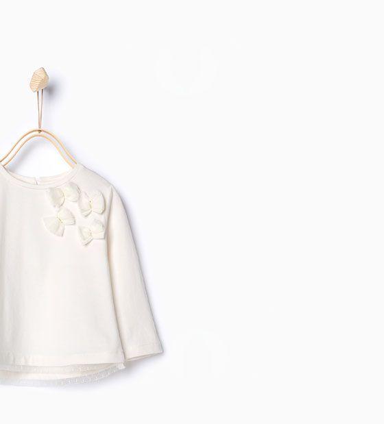 ZARA - KINDER - Shirt aus Biobaumwolle mit Tüll-Schleifen