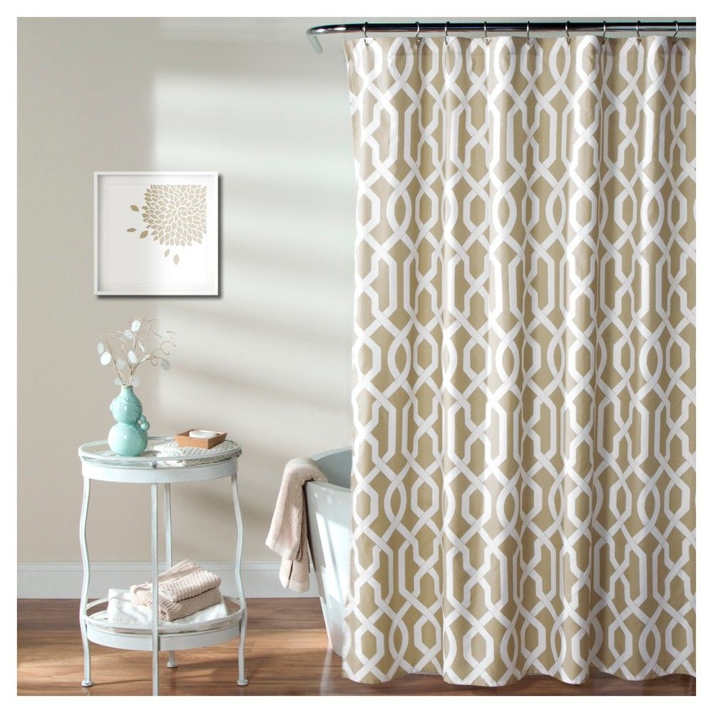 Edward Trellis Shower Curtain Taupe Lush Decor Soft Taupe With