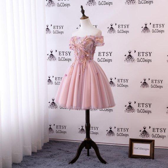 f10d96b9601a 2018 Junior Senior Girl Homecoming Dress Pink Orange Lace Flowers Prom Dress  Short Knee Length Dress