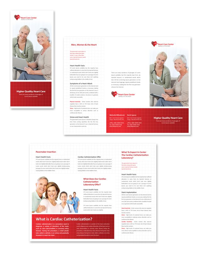 Heart Care Center Tri Fold Brochure Template Heart to Heart - medical brochures templates