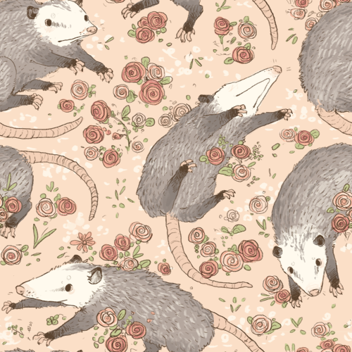 repeating opossum and rose pattern! Feel free to use with ...