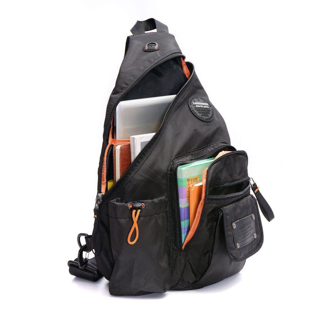 DDDH Large Sling Bag Riding Hiking Bag Nylon Single Shoulder ...