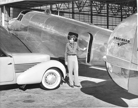 Amelia Earhart at the Lockheed factory in Burbank, December 1936. -- Automobile Club of Southern California Archives