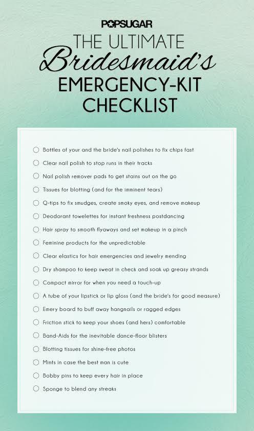 bridesmaid checklist