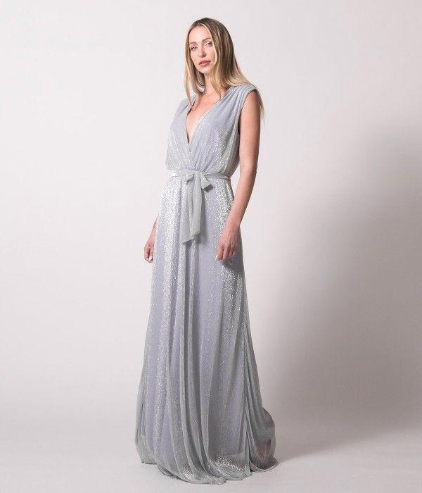 178223d51ce4 Maxi Κρουαζέ Φόρεμα Lurex - Ασημί | Φορέματα Nostress, 2019 ...