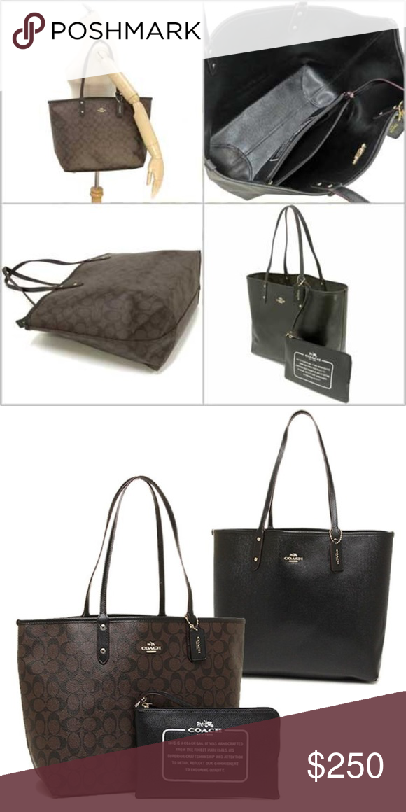 88d9bdeb411 NWT COACH REVERSIBLE TOTE BEAUTIFUL LEATHER TOTE, COMES WITH DUST ...